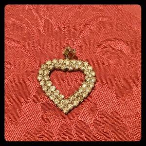 Vintage Heart Pendant - Crystal set in Silver